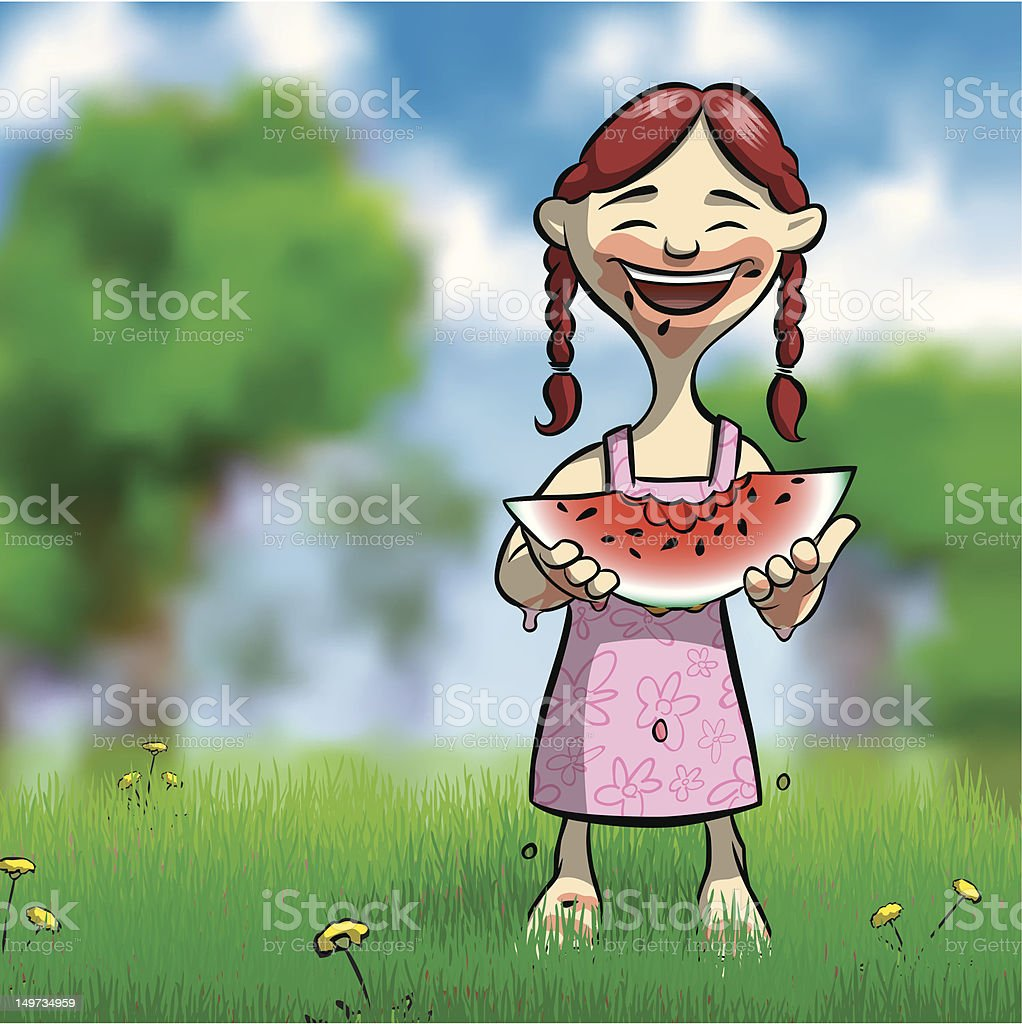 Eating Watermelon in a Sunny Field royalty-free eating watermelon in a sunny field stock vector art & more images of barefoot