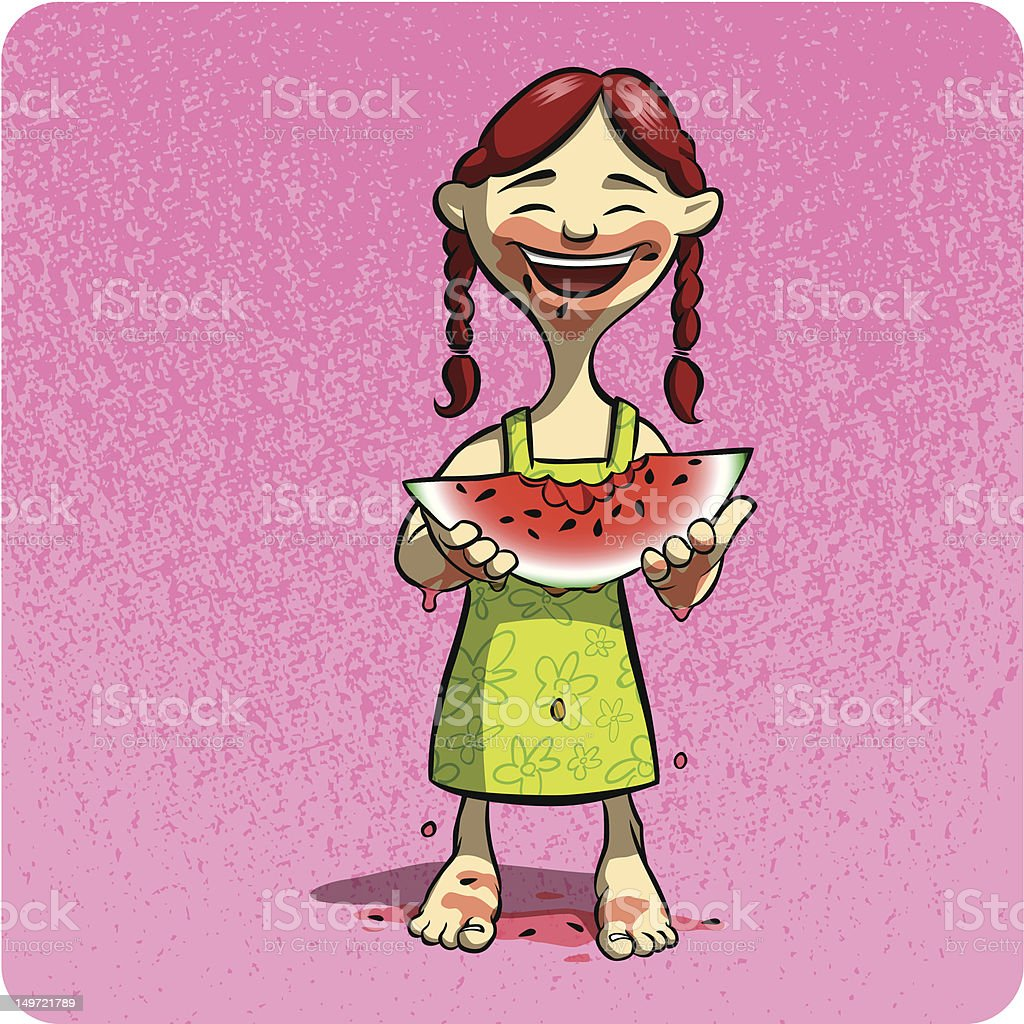 Eating Watermelon royalty-free stock vector art