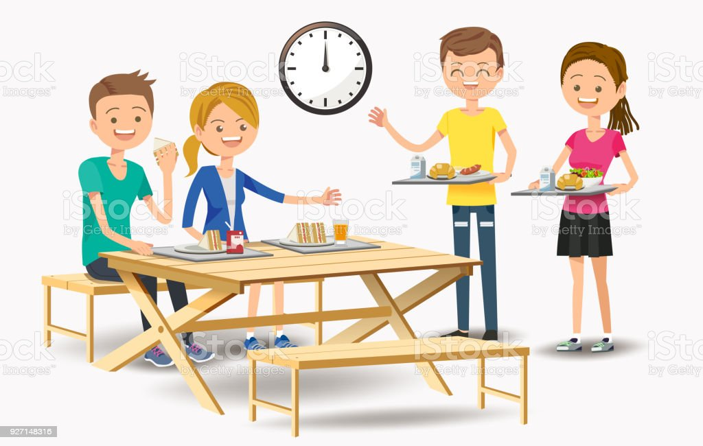 Eating With New Friends At The Cafeteria Stock Illustration - Download Image Now - iStock