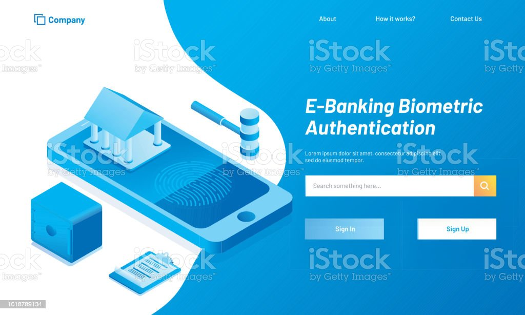 E-Banking Biometric Authentication concept, responsive web template design with isometric illustration of banking app on smartphone screen. vector art illustration