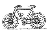 E-Bike Bicycle Side View Drawing