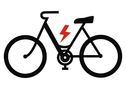 e-bike, black silhouette, vector icon