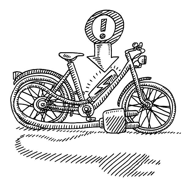 E-Bike Power Cord Plug Drawing Hand-drawn vector drawing of an E-Bike with a Power Cord and Plug. Black-and-White sketch on a transparent background (.eps-file). Included files are EPS (v10) and Hi-Res JPG. cycling stock illustrations