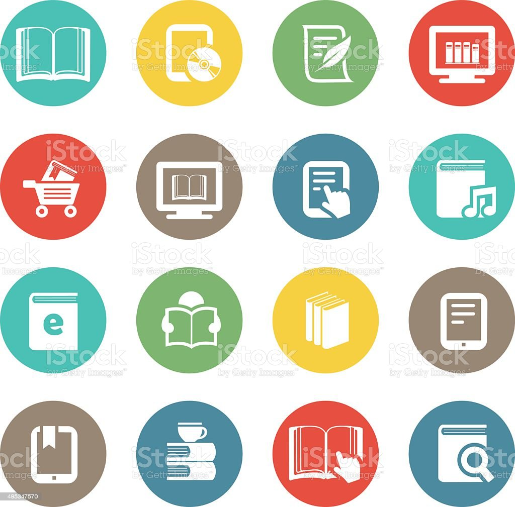 Ebook and Literature Icons vector art illustration
