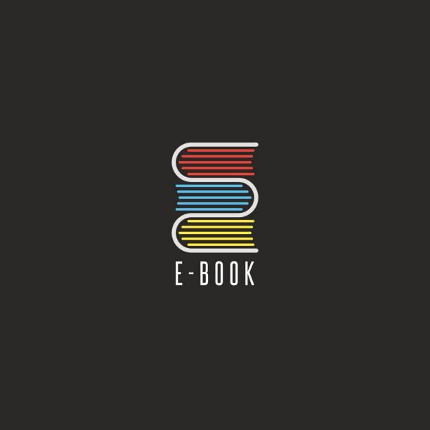 stockillustraties, clipart, cartoons en iconen met e-book boekhandel pictogram, online school onderwijs embleem mockup, het lezen van het pictogram van de club, stapel boeken in de vorm van de letter e - e learning