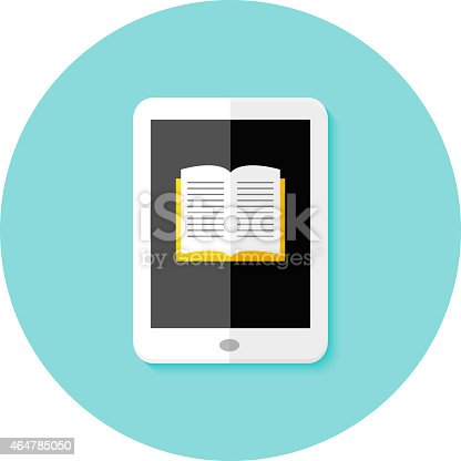 Illustration of Ebook Flat Circle Icon