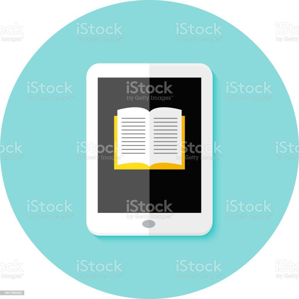 Ebook Flat Circle Icon vector art illustration