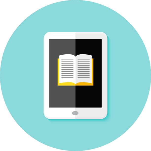 stockillustraties, clipart, cartoons en iconen met ebook flat circle icon - e learning