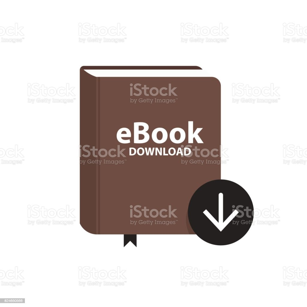 E-book icon with download arrow button. Online book digital library concept. Vector illustration vector art illustration