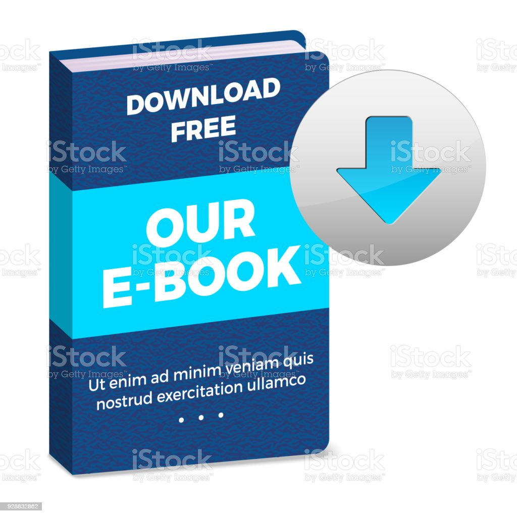 E-book icon with download button vector art illustration