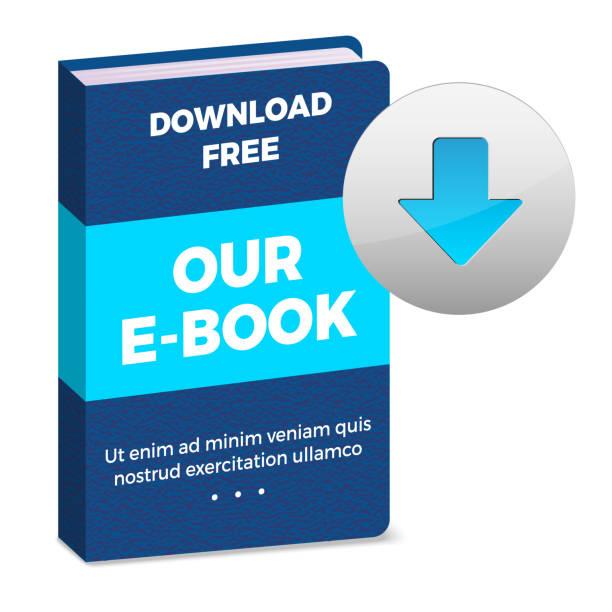 E-book icon with download button E-book icon with download button and sample text on white background - vector illustration e reader stock illustrations