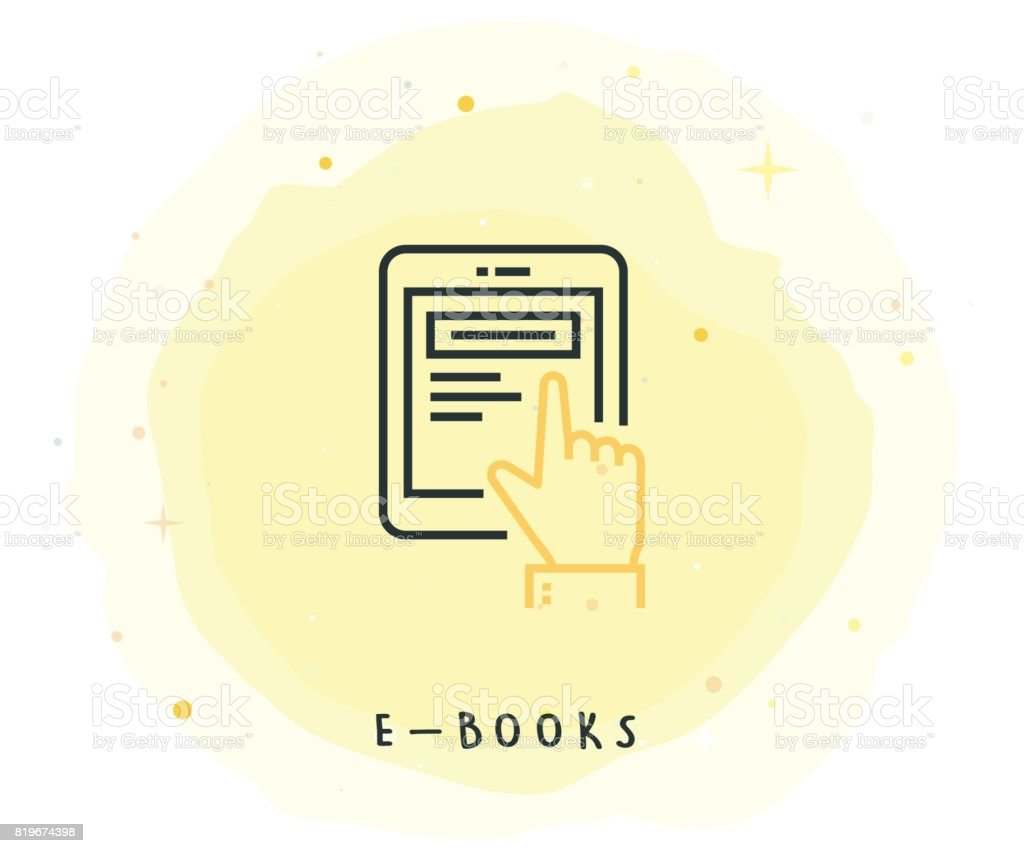 E-Book Icon with Watercolor Patch vector art illustration