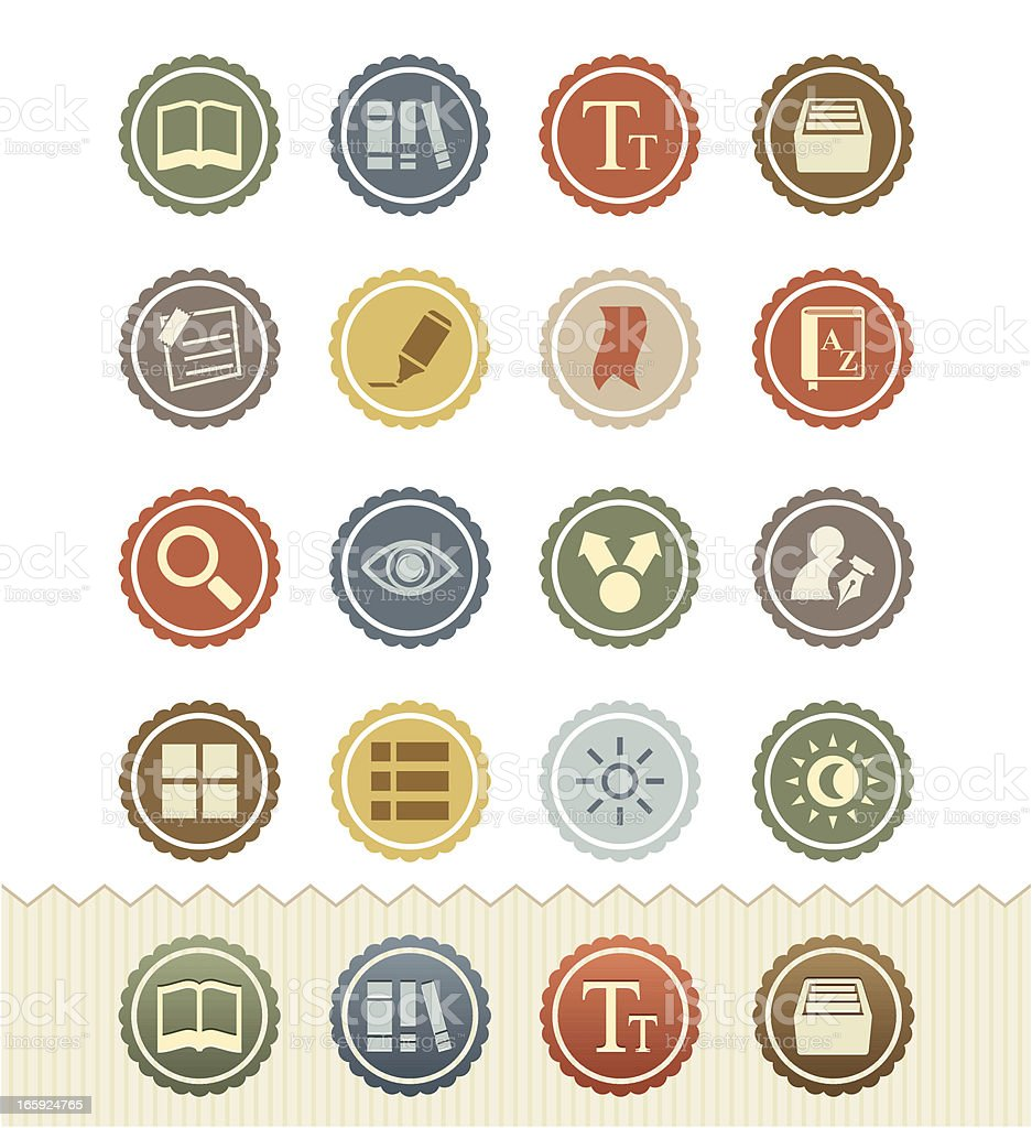E-book Icons : Vintage Badge Series royalty-free ebook icons vintage badge series stock vector art & more images of 1950-1959