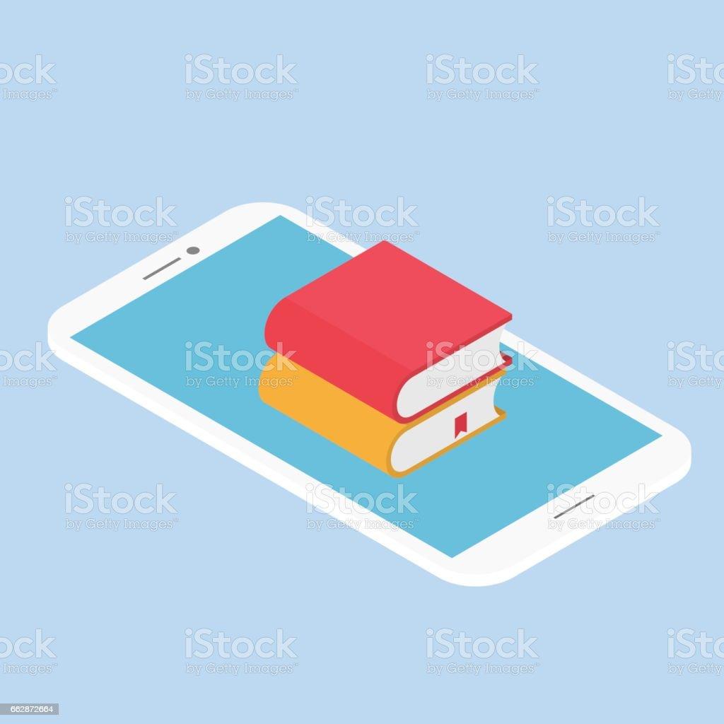E-book mobile. vector art illustration