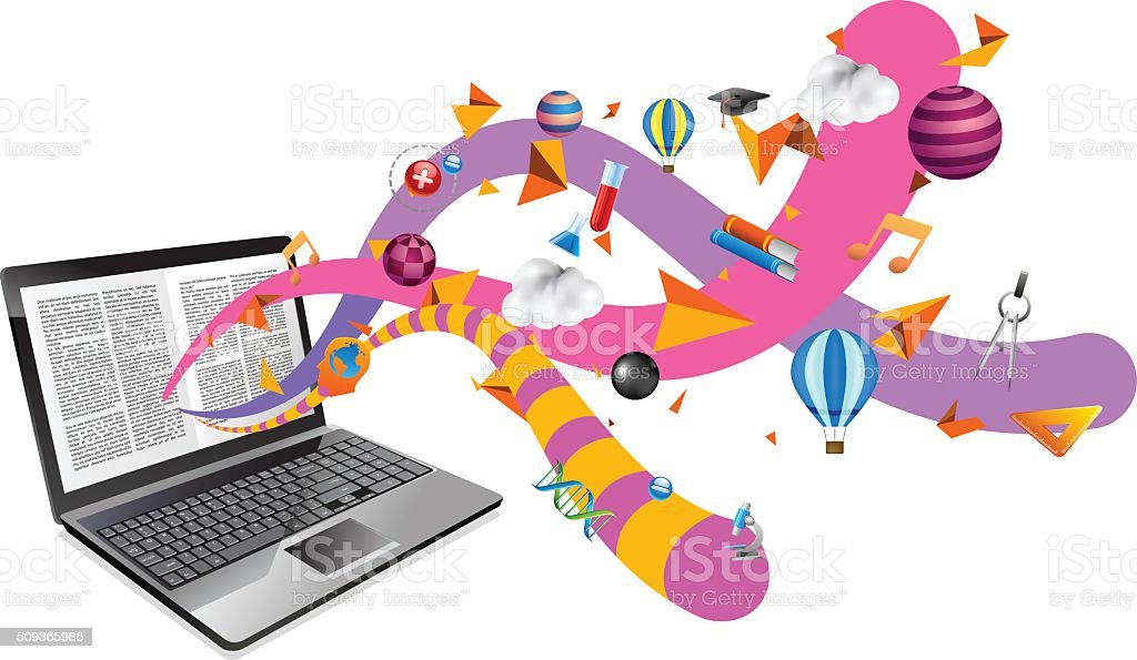 Ebook no computador portátil - ilustração de arte em vetor