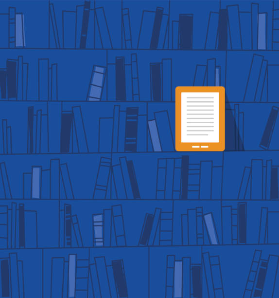 Ebook on the shelf. Vector illustration library of eBooks. Eps 10. book backgrounds stock illustrations