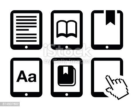 Electronic book black icons set isolated on white