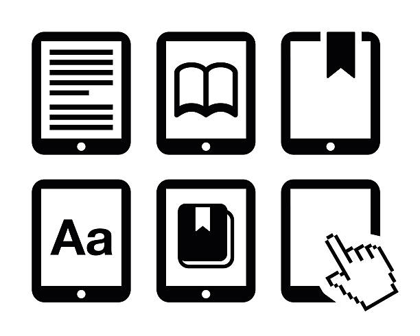 E-book reader, e-reader vector icons set Electronic book black icons set isolated on white  e reader stock illustrations