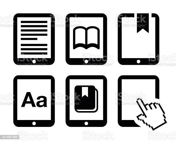 Vetores de Ebook Leitor Eleitor Conjunto De Ícones Vetorizados e mais imagens de Aplicação móvel