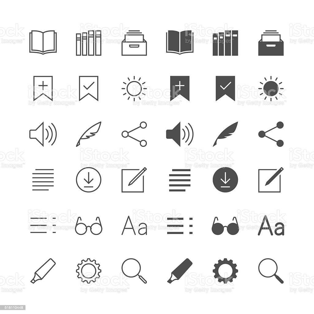 E-book reader icons vector art illustration