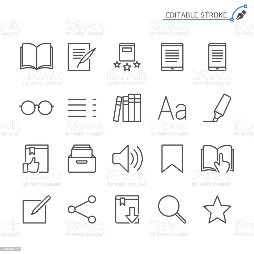 E-book reader line icons. Editable stroke. Pixel perfect. vector art illustration
