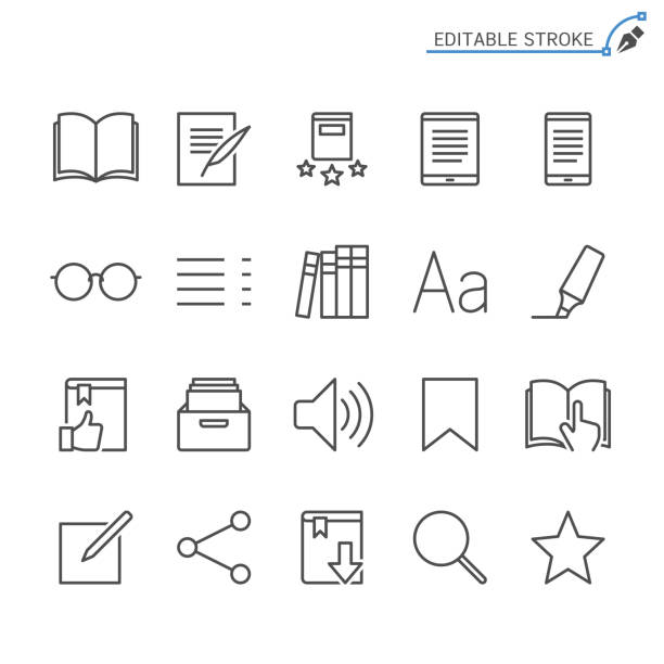 e-book reader line icons. editable stroke. pixel perfect. - book symbols stock illustrations