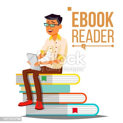 E-Book Reader Vector. Man. Contemporary Education. Stack Of Books. Traditional Textbook VS Ebook. Isolated Cartoon Illustration