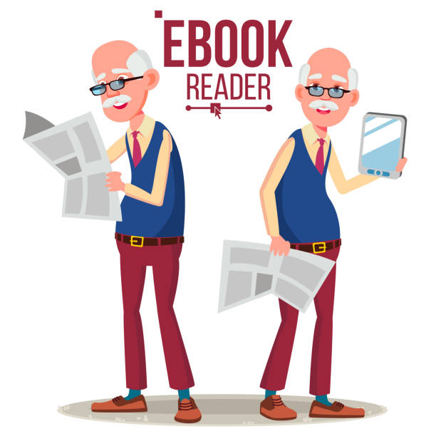 e-book reader vector. old man. paper book vs e-book. isolated flat cartoon illustration - old man computer silhouette stock illustrations, clip art, cartoons, & icons