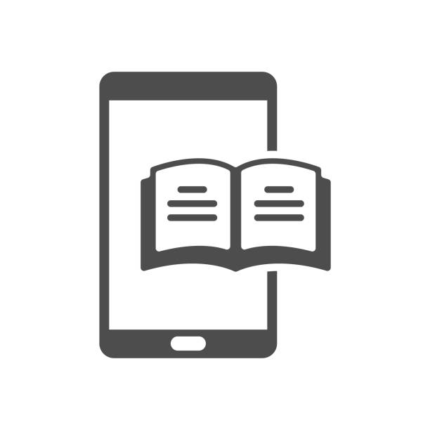eBook vector icon eBook mobile app on smartphone. open book with lines on smartphone vector icon isolated on white background. study and education, self education, reeding web icon for mobile and ui design e reader stock illustrations