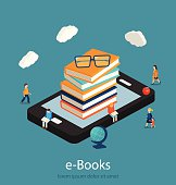 E-books isometric concept. Online mobile library in smartphone.