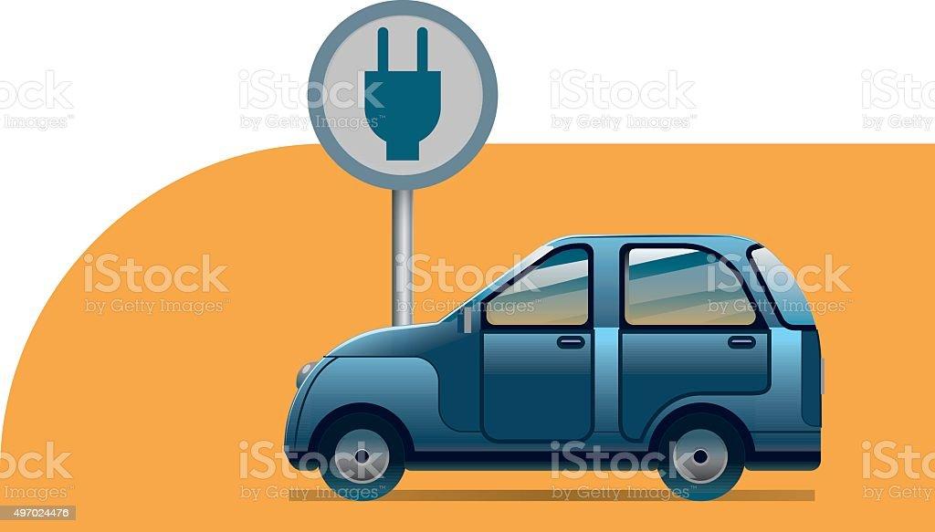 E-car, electric car recharging vector art illustration