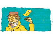 Cool Eccentric Bearded Man in Yellow Hoodie against a Brick Wall with Bird Pet Perched on Finger