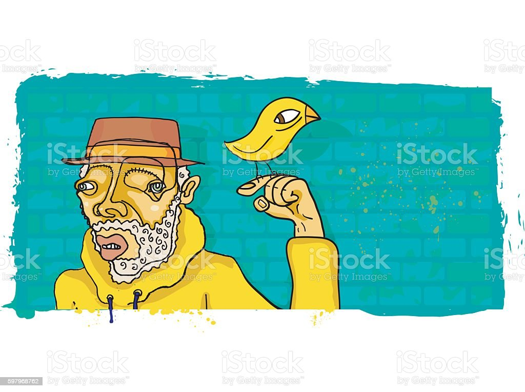 Eccentric Bearded Man in Hoodie with Bird on Finger vector art illustration