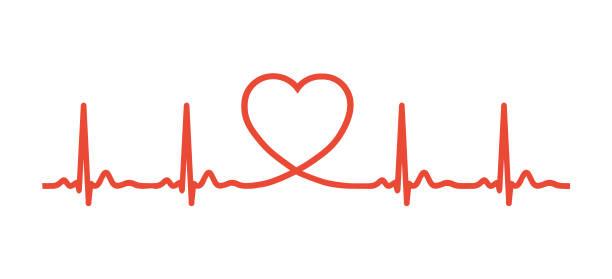 ecg heart beat line with heart shape. vector illustration icon. - rytm stock illustrations