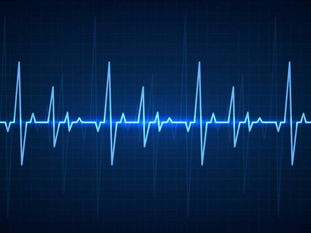 Ecg. Sinusoidal pulse lines, frequency heartbeat stress testing life, monitor with signal graphic pulsing, cardiogram heartbeat logo vector set Ekg. Blue sinusoidal pulse lines, monitor with heartbeat signal. Cardiogram pulsing, resuscitation hospital equipment healthcare vector technology background heart rate stock illustrations