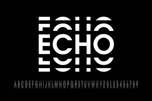 Echo style modern font Echo style modern font, alphabet letters and numbers vector illustration shaking stock illustrations