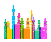 Colourful overlapping silhouettes of e-cigarettes or vapers