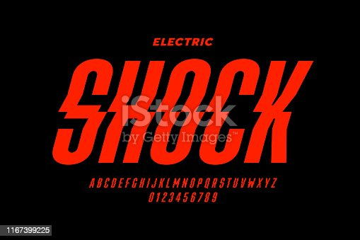 Eclectric shock style font design, alphabet letters and numbers vector illustration