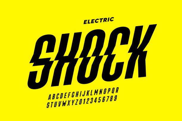 stockillustraties, clipart, cartoons en iconen met eclectric shock stijl lettertype ontwerp - onweersbui