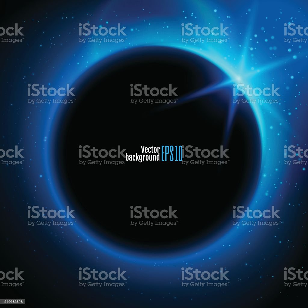 Eclipse illustration, planet in space in blue rays of light vector art illustration