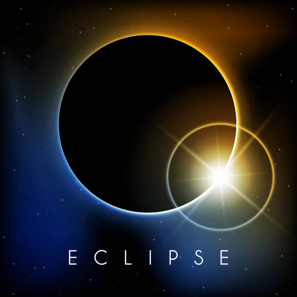 Eclipse with lens flare Beautiful Eclipse with lens flare corona sun stock illustrations