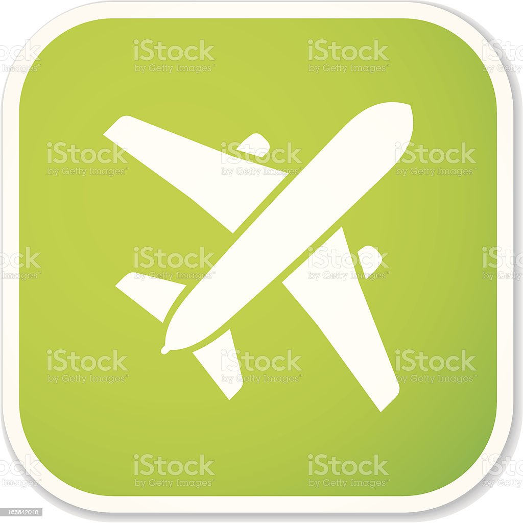eco airplane sq sticker royalty-free stock vector art