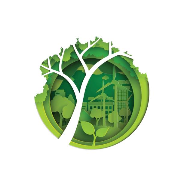 stockillustraties, clipart, cartoons en iconen met eco en natuur papier kunst stijl conceptontwerp. - ecosysteem