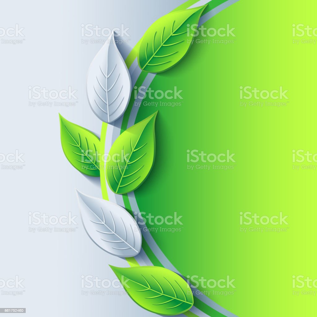 Eco Background With Green And Gray 3d Leaves Stock Illustration