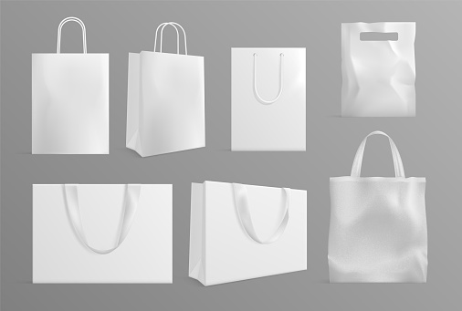 Eco bag mockup. Realistic canvas paper handbags. Modern material or cotton reusable packs for shoppers. White shopping packages vector set