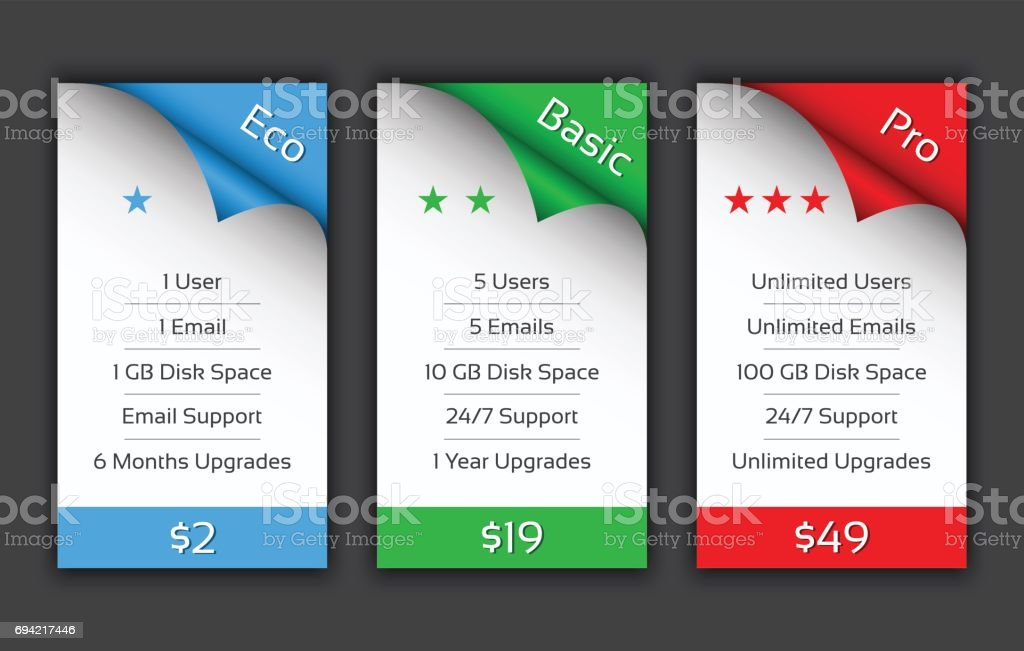 Eco, Basic and Pro pricing plans for your website and aplications vector art illustration