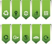 Collection of vector bookmarks with eco and recycling icons.