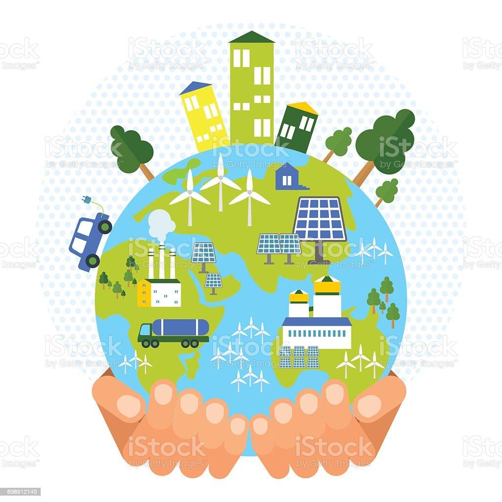 eco business friendly concept vector art illustration