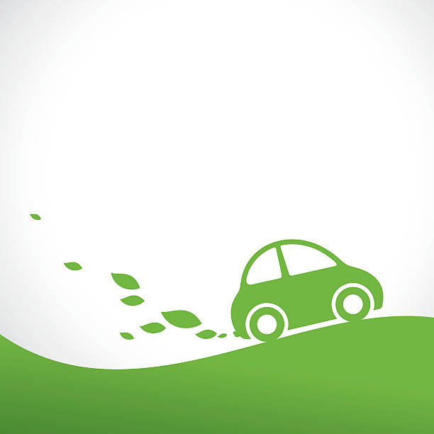 eco car background Green eco car rides on the green hill alternative fuel vehicle stock illustrations