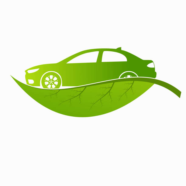 Eco car green leaf and car sign vector design vector art illustration